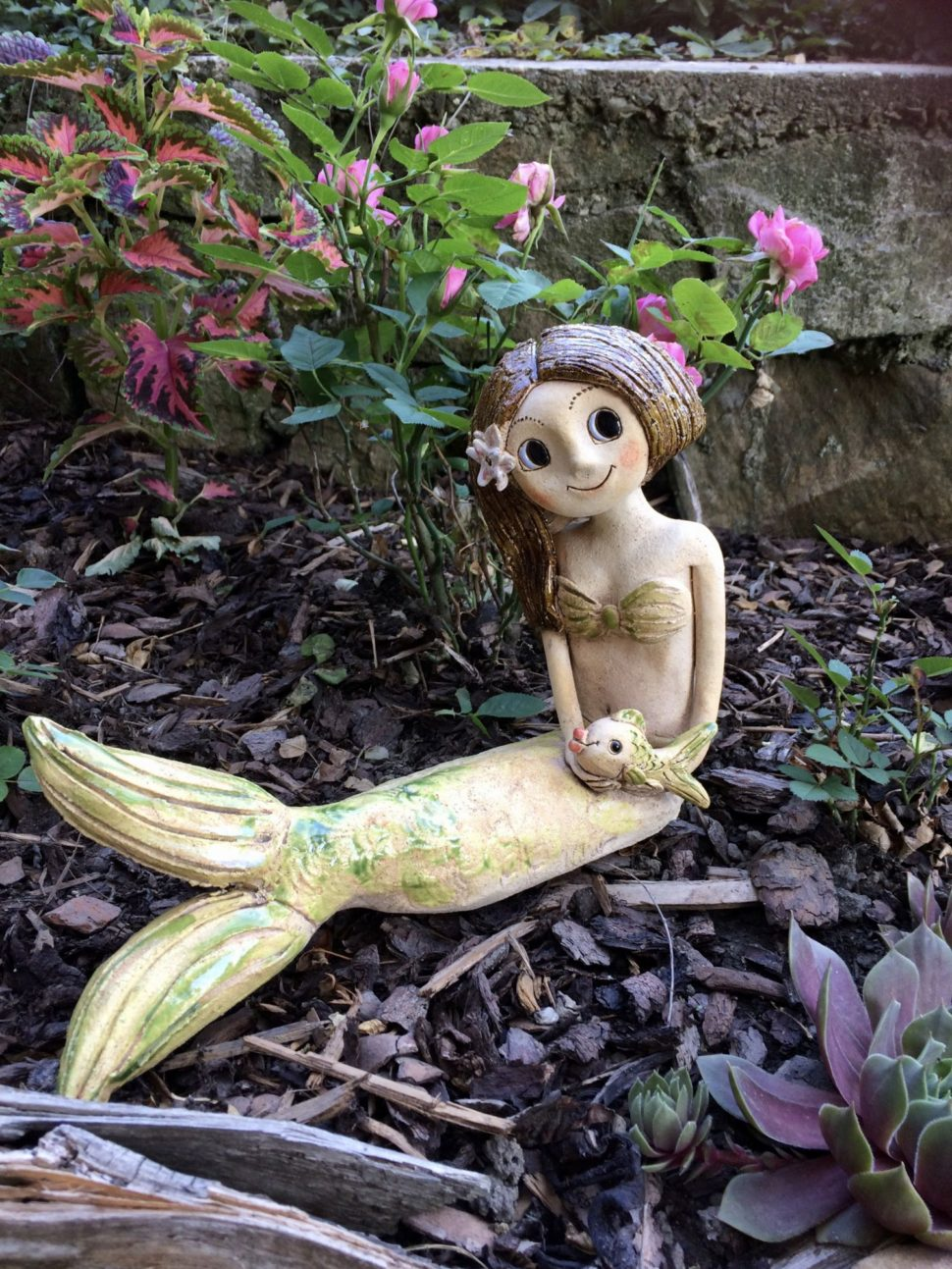 vodní víla mořská panna rybka keramika andee