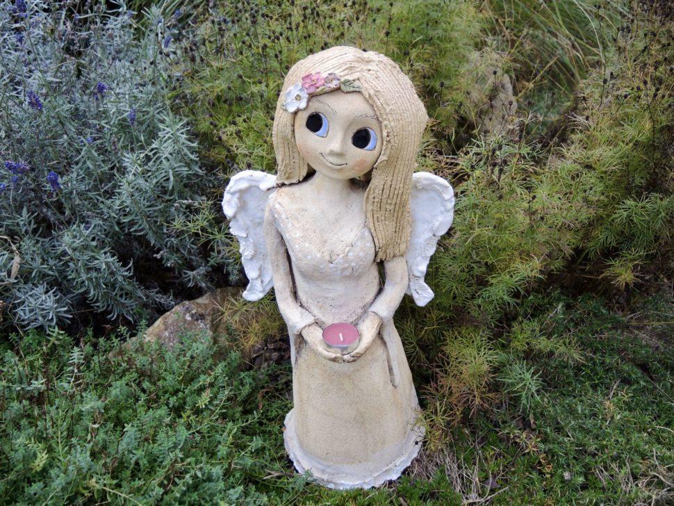 andělka jasmín květina křídla světlo svícen světlonoš keramika andee