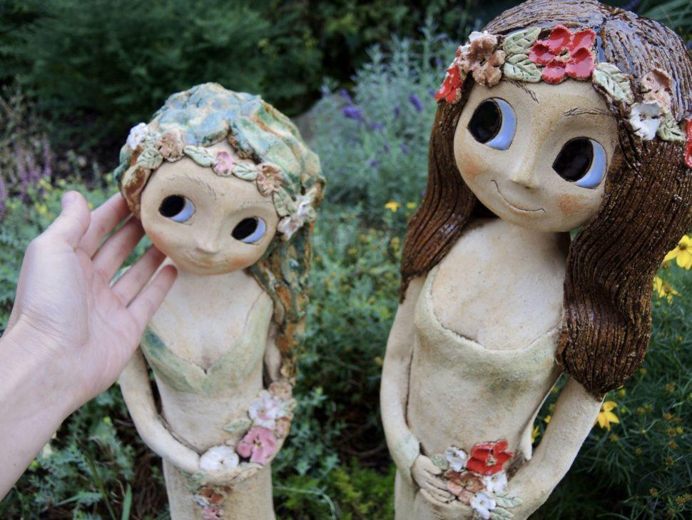 lesni víla květina strom zasněná keramika andee socha velká víla