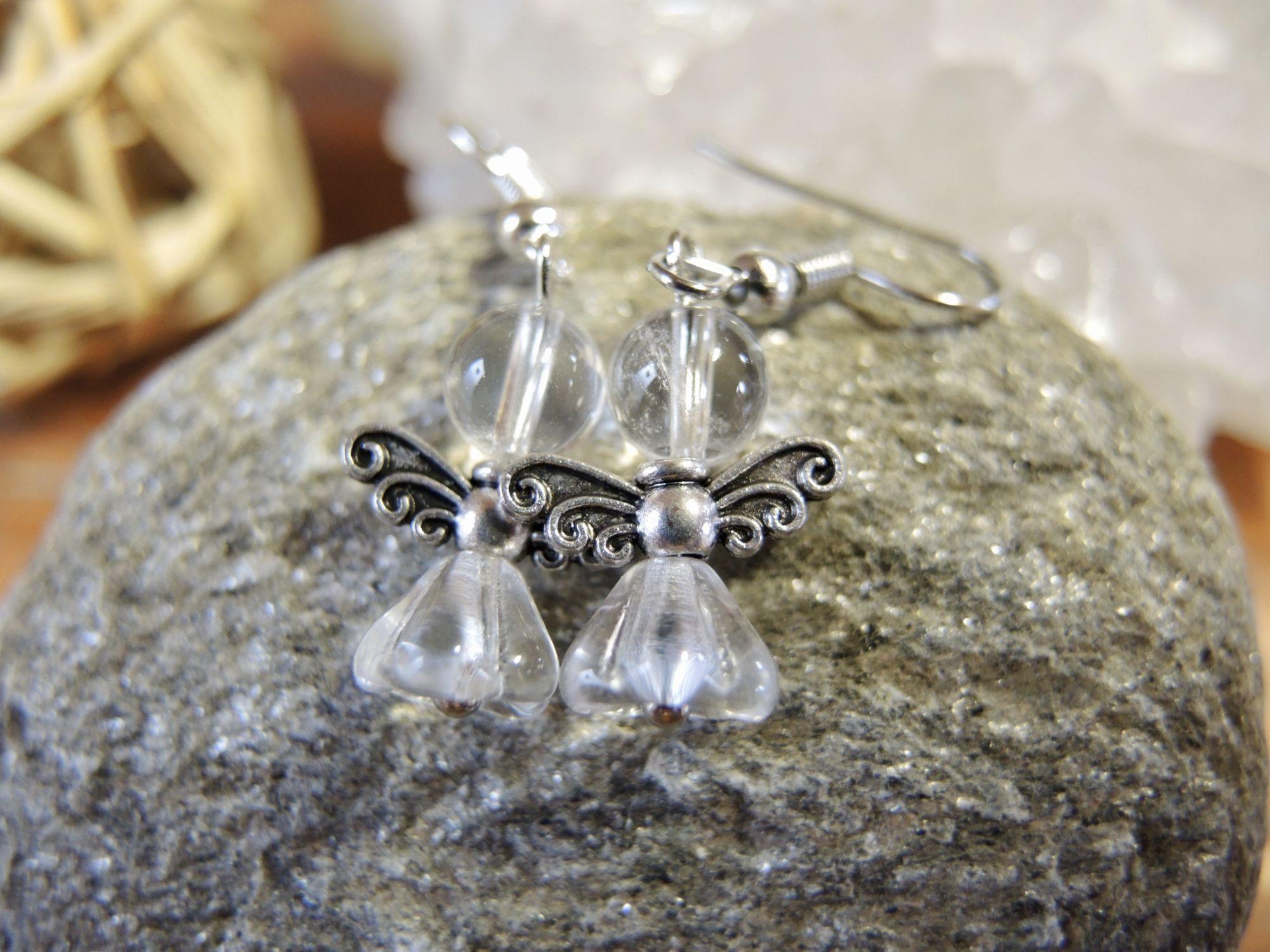 andělské náušnice anděl kameny šperky andee polodrahokam křišťál