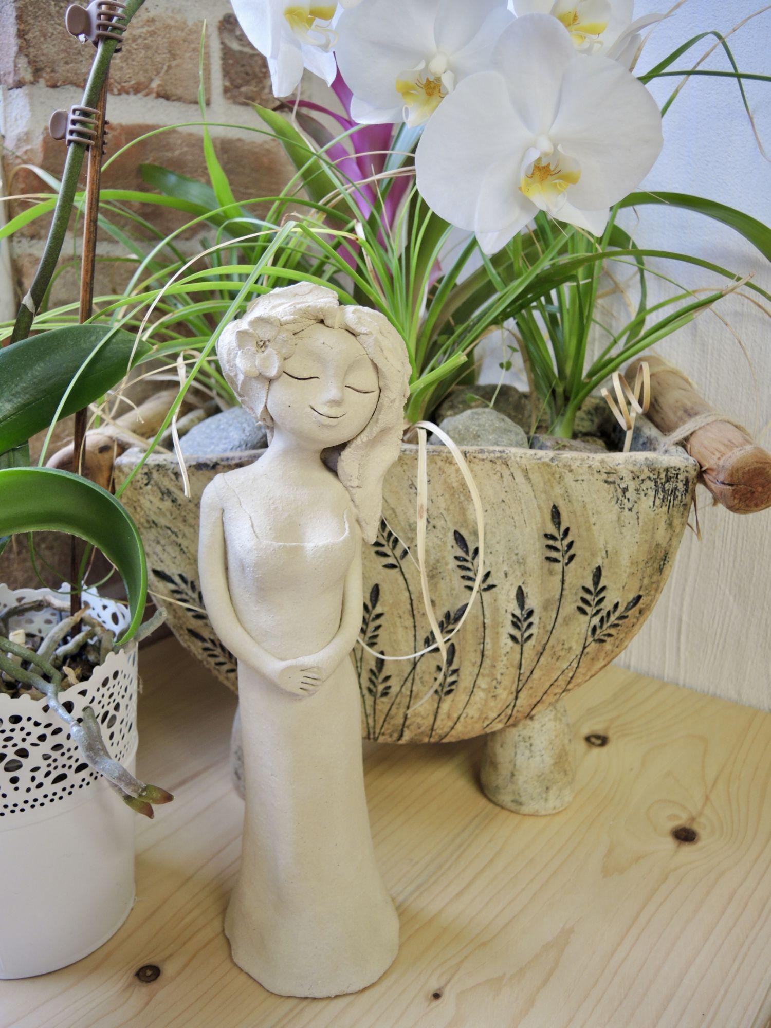 víla figura dekorace soška keramika domov keramikaandee květ