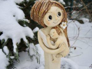 cíla dívka panenka soška dítě miminko něla láska dva keramika figura keramikaandee